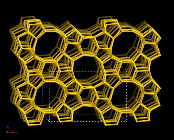 Схематическое изображение структуры цеолита (источник: Database of Zeolite Structures)