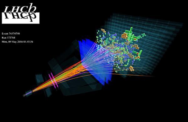 Изображение экспериментального события, зарегистрированного на LHCb