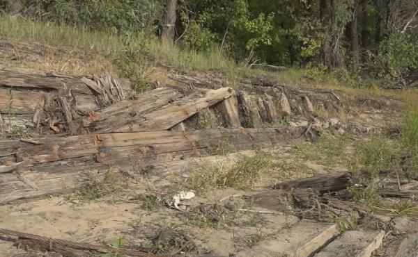 Житель Омска случайно наткнулся на останки деревянного судна