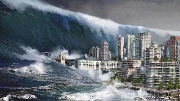 Когда на берегу слышен гул со стороны океана, и в сторону берега идет вал высотой 20-30 метров, это действительно страшно